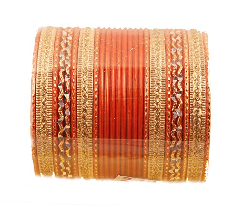 Touchstone New Colorful 2 Dozen Bangle Collection Indian Bollywood Alloy Metal Textured Carrot Orange Designer Jewelry Special Large Size Bangle Bracelets Set of 24. In Antique Gold Tone for Women