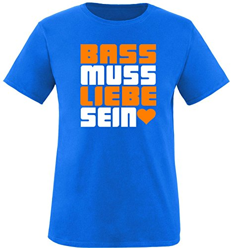 Luckja Bass muss Liebe Sein Herren Rundhals T-Shirt Royal/Weiss/Orange
