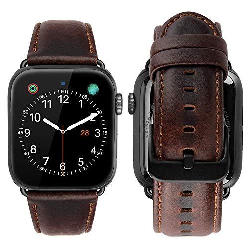Tolv Genuine Leather Strap for iwatch Series 4 3 2 &1 (38mm) (Dark Brown)
