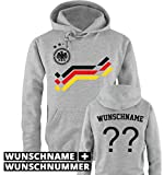 Comedy Shirts EM 2016 - Retro-Trikot - WUNSCHDRUCK - Herren Hoodie - Grau/Schwarz-Rot-Gelb Gr. S