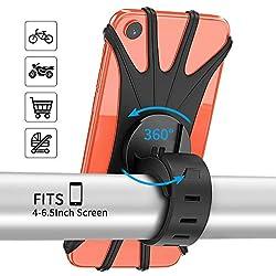 """PEYOU Soporte Movil Bicicleta, Soporte Movil Moto, 360° Rotación Silicona Soporte Universal para iPhone X/6s/7/8 Plus, Samsung Galaxy S7/S8 Plus y 4""""-6.5"""" Smartphones"""