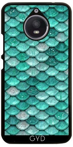 Hülle für Motorola Moto E4 Plus - Aqua Glitter Skalen by UtArt (Aqua-skala)