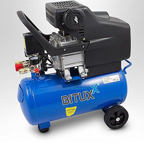 BITUXX® Druckluftkompressor Luftdruck Kompressor 24 Liter + 13 teiliges Druckluft Zubehör-Set inkl. Ausblas- Reifendruck- & Lackierpistole + Schlauch