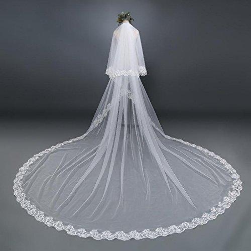 Veil Braut Hochzeit Schleier der Kathedrale Spitze Rand doppellagige Tailing Vinylschaum Netz weiß elfenbein Brautkleid Zubehör 3M 4M 5M 3m (Braut Kostüm Für Hennen Nacht)