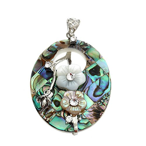 Abalone shell pendant amazon oval hollow flowers paua abalone shell pendant bead 2x14 mozeypictures Image collections