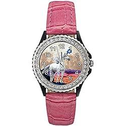 Timest - Unicornio - Reloj del cuero rosa para mujer con piedrecillas Analógico Cuarzo CSG0076p