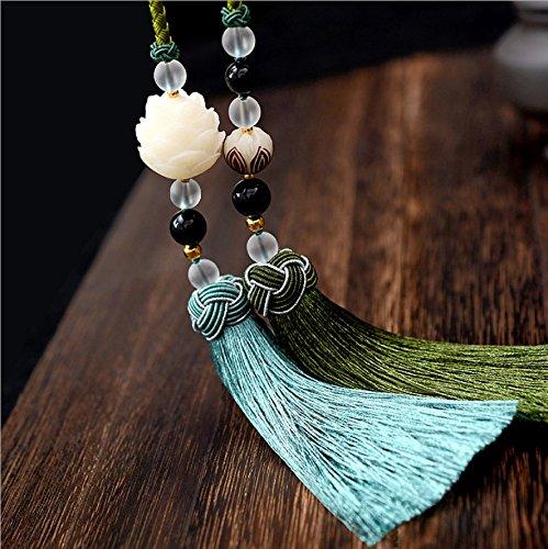 Ciondolo Lotus Realizzato Con Frutto Dell'albero Di Bodhì, Decorazione Zen Per Casa E Auto, Regalo Per Amici 2 Colori,Green