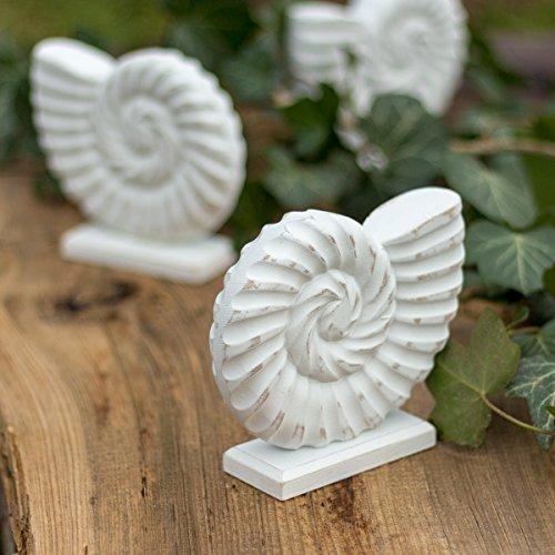 Badezimmer Deko Ammonit weiß aus Holz | 12,5 x 14,5 x 4 cm | Deko-Muschel, Wohnaccessoires, Deko Figur von Antikas