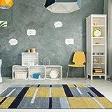 Alfombra Patchwork para sala de estar con diseño de cuadros bohemios en colores ocre amarillo mostaza y dorado 120cm x 170cm