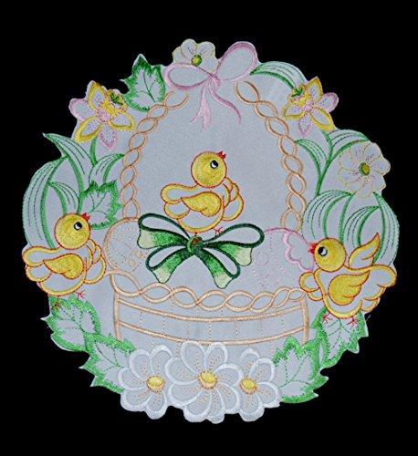 Deco Art Lovely brodée de Pâques Blanc Rond Napperon, Nappe, Serviette de Table, Set de Table, Chemin de Table, – 30 cm (299,7 cm)