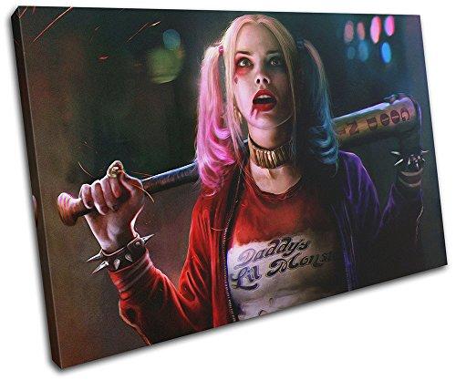 (Bold Bloc Design - Suicide Squad Harley Quinn Movie Greats 120x80cm SINGLE Leinwand Kunstdruck Box gerahmte Bild Wand hangen - handgefertigt In Grossbritannien - gerahmt und bereit zum Aufhangen - Canvas Art Print)