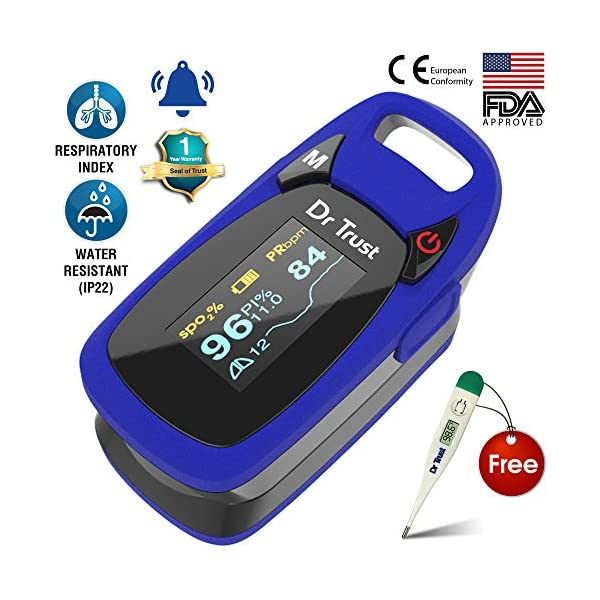 Dr Trust Professional Series Finger Tip Pulse Oximeter With Audio Visual Alarm and Respiratory Rate(Blue)-202
