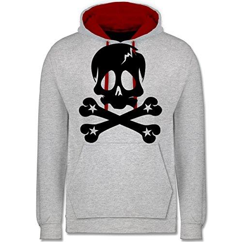 Piraten & Totenkopf - Totenkopf - Kontrast Hoodie Grau Meliert/Rot