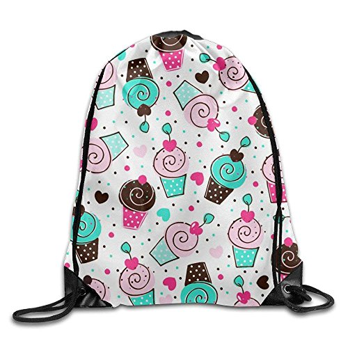 ZHIZIQIU Beautiful Navy Seashore Brige 100% Polyester Drawstring Backpack Pattern Backpack Buggy Bag Swirlling Cup Cake