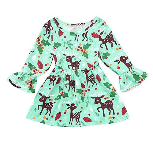 he Weihnachten Outfit Sets Weihnachten Kleinkind Kinder-Baby-Rotwild-Blumenprinzessin Dress Glockenhülse Kleidung Outfits ()