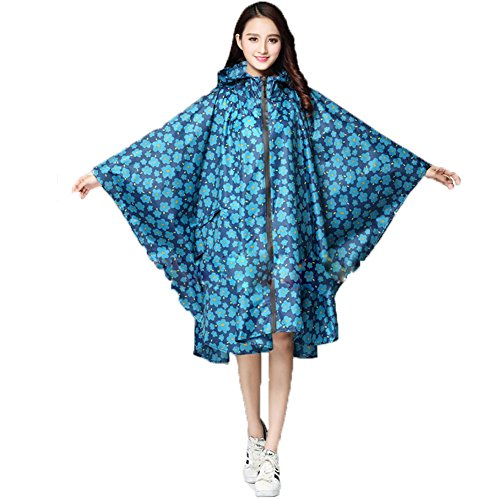 yipinco7285 -  Giacca impermeabile  - Donna Blue Flower#