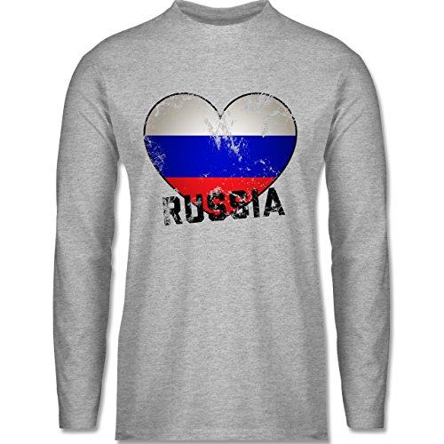 Shirtracer Fußball-WM 2018 - Russland - Russia Herz Vintage - Herren Langarmshirt Grau Meliert