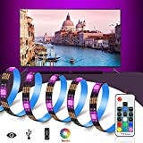 TV LED Posteriore Di Illuminazione Kit, USB Bais Lighting Striscia LED RGB con Nastro Adesivo Termico e 17Keys Telecomando Wireless RF per HDTV, Monitor PC (Strisce LED 6 x 50 cm)