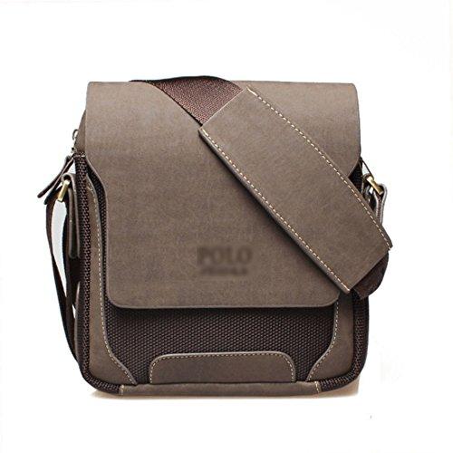 Foto de Maod Hombre Bolso de Cuero Retro Bandolera Oficina Ocio Maletin Clásico Color Sólido Briefcase de Piel bolsos Pequeño (Marrón M)