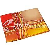 R.P. Spannbetttuch aus 100% Baumwolle Fantasia Stripe Light - 1 französisches Bett - orange