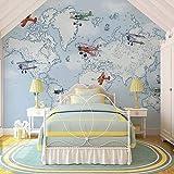LONGYUCHEN Benutzerdefinierte 3D Silk Wandbild Tapete Cartoon Flugzeug Heißluftballon Weltkarte Kinderzimmer Kindergarten Spiel Zimmer Dekoration Wandbild,180Cm(H)×280Cm(W)