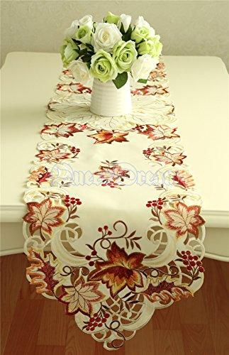 QueenDream 13'X68' Beige estilo europeo hueco camino de mesa superposiciones florales cubiertas de mesa comedor rústico sobrepuestos de mesa