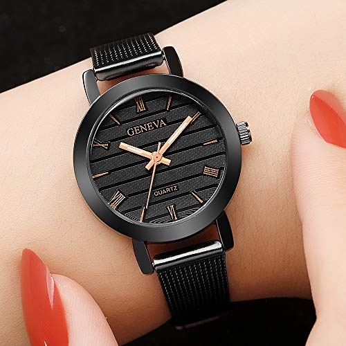 Armbanduhr Damen Frauen beiläufige Kontrolleure Kunstleder Quarz analoge Schwarz