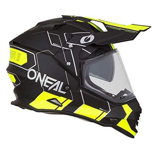 O'Neal Sierra II Comb Motocross Motorrad Helm MX Enduro Trail Quad Cross Offroad Gelände, 0817, Farbe Schwarz Neon Gelb, Größe L