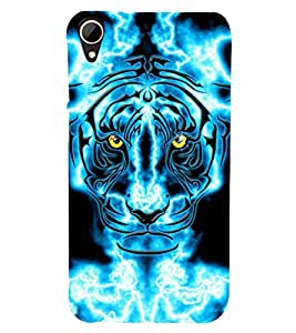 animated glowing tiger face 3D Hard Polycarbonate Designer Back Case Cover for HTC Desire 828 :: HTC Desire 828Q :: HTC Desire 828S :: HTC Desire 828G+ :: HTC Desire 828 G Plus :: HTC Desire 828 Dual Sim