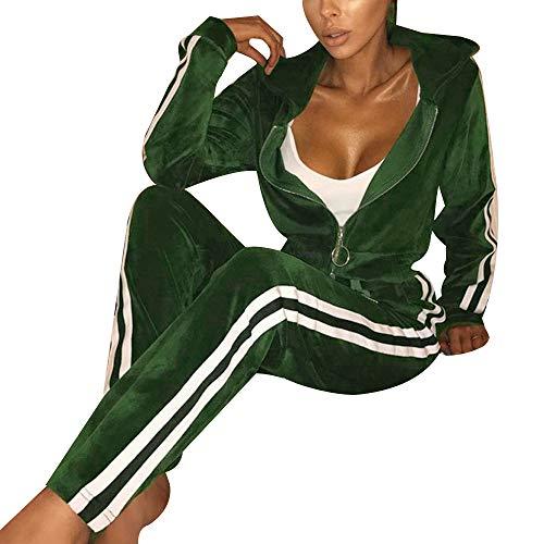 Grüne Velour Hose (Frauen Damen Mode Trainingsanzug Streifen Zweiteilige Jogginganzug Lange Ärmel Zipper Top Lange Hose Grün Size L)