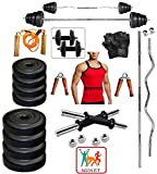 Bodyfit 20 Kg Weight Set+ 5 Ft Rod + 3 Ft Curl Rod +Gym Accessories WITH GYM VEST(ASSORTED COLOR)