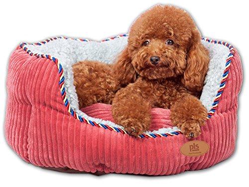 PLS Pet Snugg Nackenrolle Haustierbett, komplett waschbar, Pflegeleicht, modernes Design, langlebig, Medium 20Wx24L, Rose -