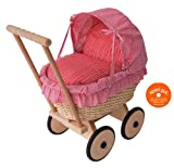 Puppenwagen 'pink' aus Korbgeflecht mit Faltdach