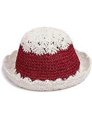 Las mujeres redondas huecas artesanales top gran volumen eaves hem vacaciones de playa sol laffey sombrero de paja, Rojo