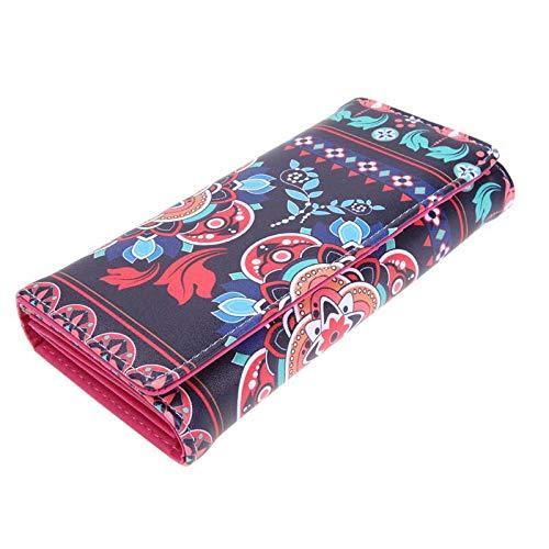 Aprigy - Frauen-Mappen nationalen Retro Purse Frauen Leder-Mappen-Lange Geldbeutel-Weinlese-Karten-Halter-Handtasche-Tageskupplungs-Handtasche Wallet [Schwarz ]