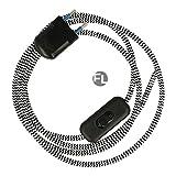 Zuleitung mit Stecker und Schalter für Lampen 3 Meter schwarz weiß | Textilkabel mit Stecker | Textilkabel mit Schalter