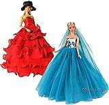 Miunana 2 Abiti Vestiti da Sposa Lunghi per 11.5 Pollici 28 - 30CM Principessa Bambola Regalo