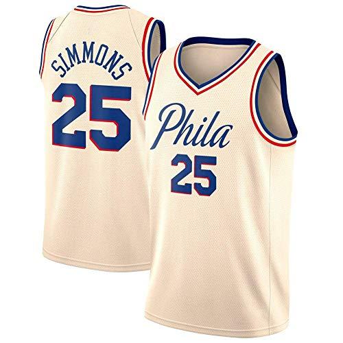 J-Met Herren-Basketballtrikots, NBA Philadelphia 76ers #25 Ben Simmons Sommerwesten Oberteile Ärmellose T-Shirts (Größe: S-XXL)