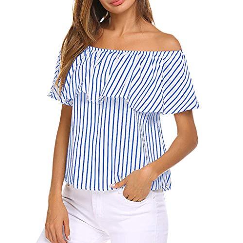 Sanahy Damen Streifen Patchwork T-Shirt, Rüschen Top Bluse Cold Shoulder Retro LoseKurzarmshirt, Sexy Confortable Lässige Bequeme Shirt T