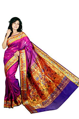 Aruna Fashions Self Design Paithani Semi Silk Saree(Purple color saree with Violet...