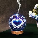 3D Glas Holzmaserung Ätherisches Öl Aromatherapie Diffusor ,3D Aromazerstäuber | Glas duft diffusor mit farbwechsel LED licht | ultraschall duftzerstäuber | aroma diffuser | elektrisch duftlampe | luf