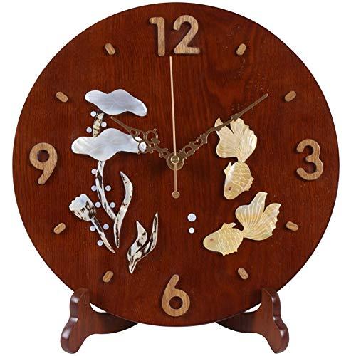 Li-lamp Tischuhr, Quarz Tischuhr Wohnzimmer Holz Stummschaltmantel Uhr Schlafzimmer Seiko Time Clock Uhr Massivholz Kunst Dekor Stil (Stil : EIN)