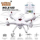 Thread_de® Globale Drohne X183 mit GPS Quadcopter Wifi FPV HD Kamera Steuerdistanz: 400 Meter 2000mAh Lithium-Batterie Ein-Knopf-Rückkehr (200 Millionen Kamera + Wifi) (Weiß)