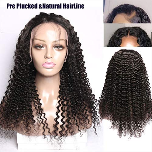 LONG&LONG Maxine Lace Front Wig 150% Density Water Wave Human Hair Wigs with Baby Hair for Black Women Glueless Lace Front Wig with Adjustable Straps Natural Color,24INCH -