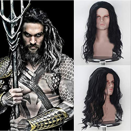 Pelucas para cosplay de Party Queen, pelucas largas onduladas de Aquaman con pelo de bebé, color negro natural, pelucas… 2