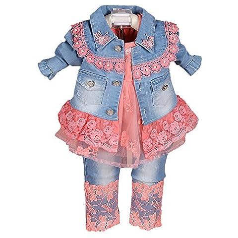 Scothen Bébé fille vêtements 3Pcs veste+Tutu+pantalon anniversaire cadeau anniversaire déguisement robe veste en dentelle épissage denim arc-en-tutu vêtements bébé blouse robe robe de soirée