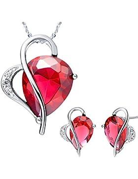 Kim Johanson Damen Schmuckset Rubin Herz Rot Halskette mit Anhänger & Ohrringe Zirkonia 925 Sterling Silber inkl...