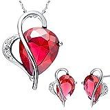 Kim Johanson Damen Schmuckset *Rubin* Herz Rot Silber Halskette mit Anhänger & Ohrringe mit Cubic Zirkonia Steinchen besetzt inkl. Schmuckbeutel