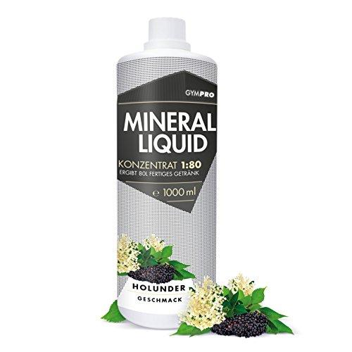 GymPro Mineraldrink Mineralgetränk Low Carb Vital Drink 1:80, 1000ml Sirup Konzentrat in Flasche mit L-Carnitin, Magnesium und Vitamin für Fitness (Holunder)