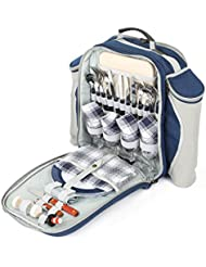 Deluxe 4 Personen Picknick Rucksack in Nachtblau (Greenfield Collection)